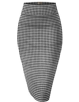 Hybrid & Company Womens Pencil Skirt for Office Wear KSK43584 10768 Black/Whit XL