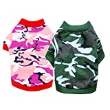 DERUILA Dog Clothes T Shirt: Camo Dog Outfit Costume Puppy Clothes for Small Medium Boys Girls Dog 2 Pack …