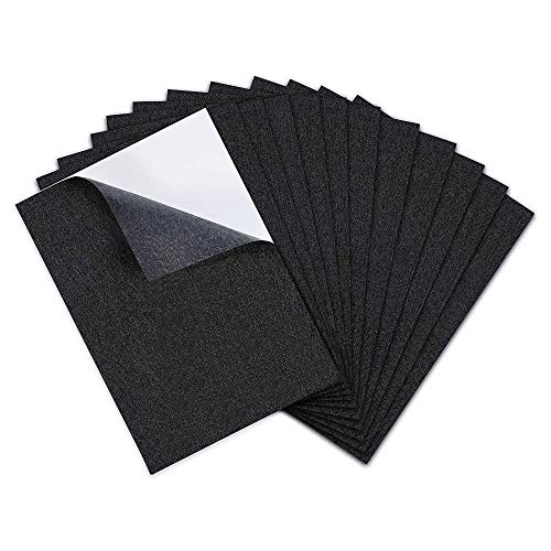 Dragang 12 Pieces  Black Felt Fabric Adhesive Sheets , Sticky Back Sheets,  Self-Adhesive Sheets ,  Ideal for Art and Craft Making, Jewelry Box Liner, Furniture Protector Pads Water Resistant(A4 Size)