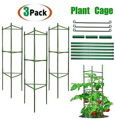 Pflanzenhalter, Rankhilfe Pflanzen, Robuste Tomatenkäfig, Gartenpflanze StützstangenKäfig Lange Stahl, Kunststoff beschichtete Pflanzen Sticks mit Verbindungsstange (DREI Sätze)