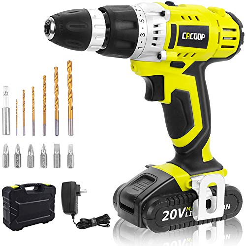 CACOOP Cordless Drill Driver 20V Power Drill Kit, Electric Drill Set, 13 pcs Drills& Bits Kit, with 1 pc 1500mAh Lithium-ion Battery, Charger and Storage&Carry Case