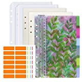 Meetory - risme per quaderni ad anelli, formato A5, a 6 fori, fogli a righe e puntinati, 6 divisori in PVC, 2 buste con chiusura a zip, righello e 84 etichette adesive (6 colori diversi)