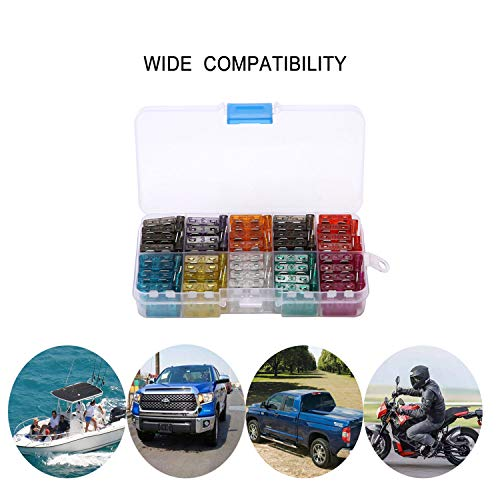 Susi&Rita 100pcs Standard Blade Fuse Assortment Kit 2, 3, 5, 7.5, 10, 15, 20, 25, 30, 35 Amp Car Boat Auto Truck SUV Automotive Replacement Fuses