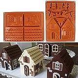 Molde de silicona para tartas de chocolate, de AKAMAS, 3D, diseño de casa de jengibre, molde de silicona para hacer galletas, 2 unidades