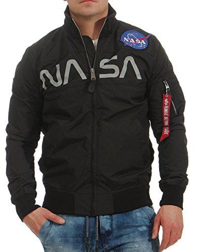 Alpha Industries Herren Bomberjacke NASA Flight schwarz L