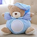 WWWL Juguetes de Peluche 25cm Kawaii Teddy Bear Musical Light Plush Dolls Pat Lamp Sleeping Comfort LED Night Light Apacease Bear Toys for Children Gifts Blue