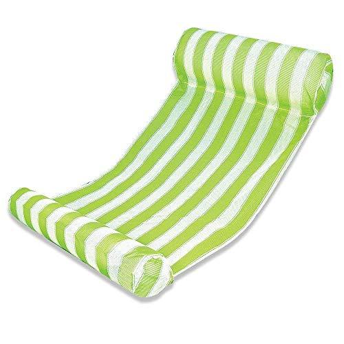 JanTeelGO Aufblasbare Hängematte, Wasser Hängematte 4-in-1 Ultrabequeme Luftmatratze Schwimmende Wasser Bett Matte Swim Aufblasbare Kopf für Erwachsene und Kinder Sommer (Grün)