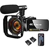 ビデオカメラ4K ビデオカメラ 30MPデジタルカムコーダーカメラマイク付きウルトラHD Vloggingカメラ リモコン付き回転式3.0タッチスクリーン バッテリー2個 リモコン付属