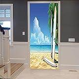 Vinilos Puerta para Cocina Sala de Baño Decorativos Pegatina Pared Murales infantil armarios dormitorio etiqueta de puerta 3d playa 77cm x 200cm
