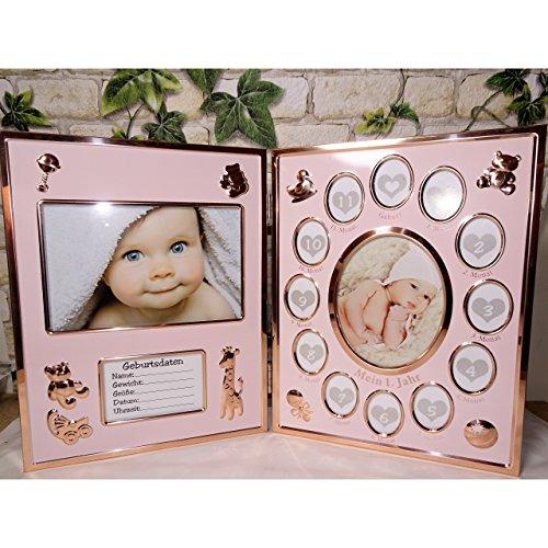 Koi Baby Bilderrahmen Mein erstes Jahr klappbar Klapprahmen pink goldfarben Fotorahmen
