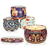 Scented Candles Gift Set for womem: Soy Wax 4 Pack Gift Package Vanilla,Lavender,Rose,Freesia, Natural for Stress Relief and Aromatherapy Candle Sets for Birthday Chrismas Bath Yoga