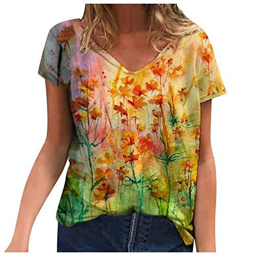 KEERADS Damen Letnia koszulka z krótkim rękawem, luźna tunika, z krótkim rękawem, nadruk zwierzęcych kwiatów, owadów, luźna herbata, kolorowa bluzka