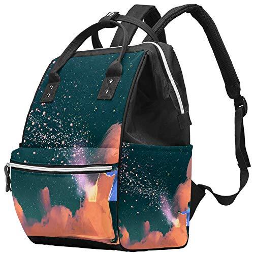 Borsa per pannolini, multifunzione, grande borsa per pannolini con borsa termica per bottiglia d'acqua, zaino da viaggio per mamma e papà, galleggiante e scintillante stardust.