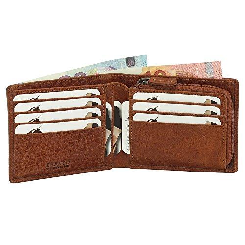 Leder Geldbörse Portemonnaie Geldbeutel Münzfach mit Reißverschluss 12 cm Farbe Cognac