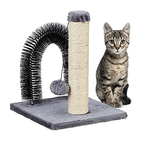Relaxdays Katzen Kratzsäule mit Enthaarungsbogen, 2in1, Sisal Katzenbaum, Pflege und Spiel, Massagebogen, 37x30x30, grau