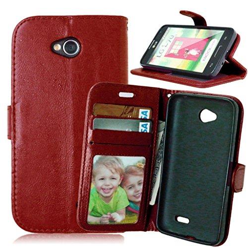 FUBAODA Optimus L70, Funda Funda de Cuero de para LG Optimus L70, [Cable Libre] Función de Soporte Móvil, para de Crédito para LG Optimus L70 (D320 D320N) (marrón)
