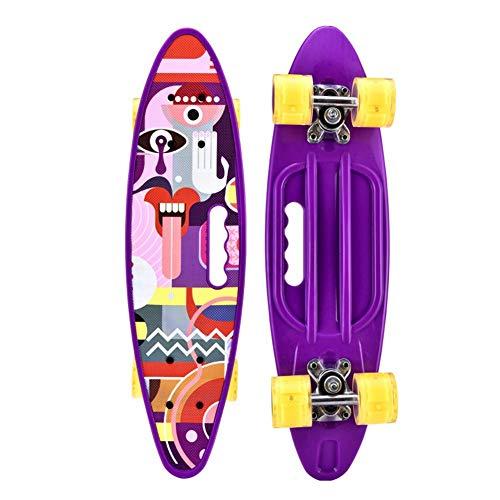 Yangyang Skateboard Komplettboard Skateboard Mini Cruiser Retro Board Komplettboard für Anfänger Kinder Jugendliche und Erwachsene,Komplett Board mit Kugellager LED PU Leuchtrollen,