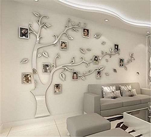 JYSPORT DIY 3D Kristall Acryl Malerei Wanddekoration Große Bilderrahmen Baum Wandtattoos Baum Wandaufkleber Room Decor Wandbild Kunst (Silver, XL)
