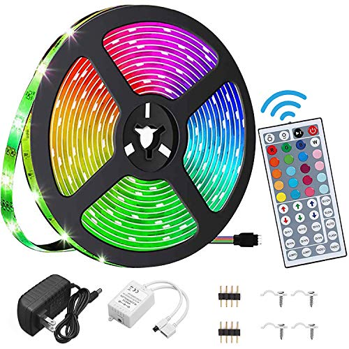 LED Strip Lights ,16.4ft RGB 5050 , IP65 Waterproof LED Tape Lights, Color Changing with Remote .for Bedroom, Living Room, TV, Bar, Outdoor, etc. (16.4ft)