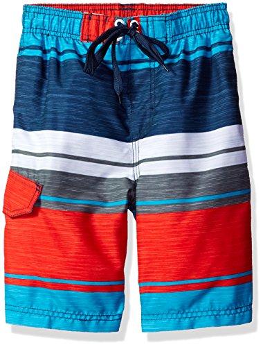 Kanu Surf Boys' Little Line Up Quick Dry UPF 50+ Beach Swim Trunk, Impact Navy/Red, 5/6
