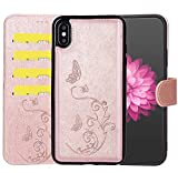 WaterFox Case for iPhone XR Leather Case with 2 in 1 Detachable Cover, Women's Embossed Pattern with 4 Card Slots & Wrist Strap Case - Rose Gold