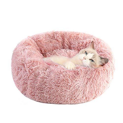 Cama para Gatos y Perros Suave Cama de Gato Redondo antiestres Cojín Lavable Invierno de Felpa Diámetro 60cm para Gatos Grandes Rosa