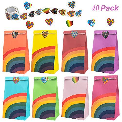 Wodasi 40 Stück Papiertüten, Kindergeburtstag Regenbogen Papiertüte, Geschenktüten Kindergeburtstag Mitgebsel Partytüten Papier Geschenktüten Papier Partytüten mit 100 Aufkleber