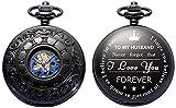 ManChDa Reloj de Bolsillo Grabado Personalizado para Regalo de Marido, Relojes de Bolsillo mecánicos Vintage con Cadena para Hombre, Día de San Valentín, Regalos Bonitos para la