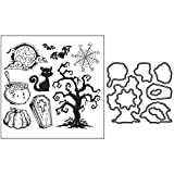 wenjuersty Christmas Halloween Metal Cutting Dies And Clear Stamp Set for DIY Scrapbooking
