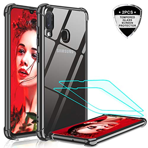 LeYi Samsung Galaxy A20 / A30 Case with 2 Tempered Glass Screen Protector, Silicone Shockproof Crystal Clear Hard PC Bumper Transparent Slim Protective Phone Cover Cases for Samsung A20/A30 Black