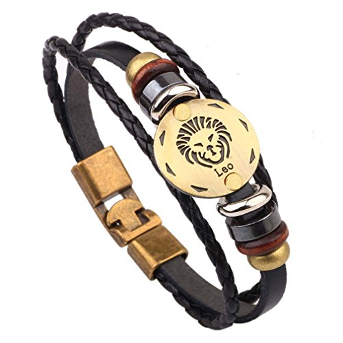 MJARTORIA Damen Herren Sternzeichen Armband Vintage Lederarmband Surferarmband Armreif Leder Geflochten Seil mit Perlen Sternbild (Löwe)