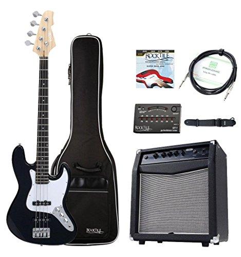 Rocktile Fatboy II E-Bass Starter Bundle Komplettset 7-teilig: Bass/Bass Gitarre, Verstärker/Basscombo, Gig Bag/Tasche, Stimmgerät, Gurt, Kabel, Saiten