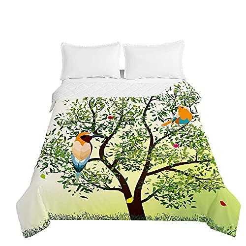 Colcha de Verano Cubrecama Colcha Bouti, Chickwin 3D Pájaro Estampada Edredón Manta de Dormitorio Suave Ligero Colchas para Cama Infantil Individual Matrimonio (Árbol Verde,220x240cm)