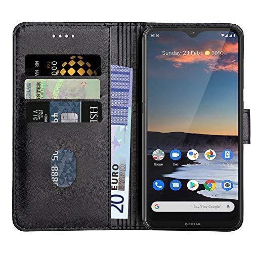 Baiyian Ledertasche Brieftasche Schutzhülle Flip Hülle für Nokia 5.3, Schwarz