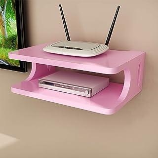 LSLS Escuadra De Pared De TV Box Set-Top Box Dispositivo De Módem De Cable For Router WiFi DVD Streaming estantería de Pared (Color : Pink)
