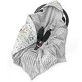 Manta para bebé, 90 x 90 cm, manta universal para bebé, por ejemplo, para Maxi Cosi Buggy, asiento de coche de algodón y minky con certificado Öko-Tex