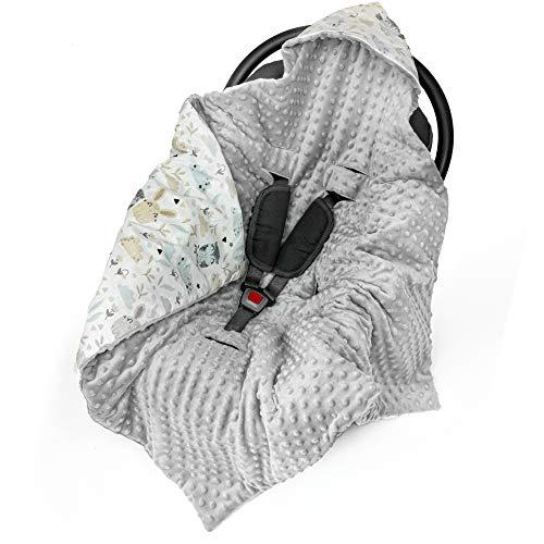 Einschlagdecke Babyschale Decke Kinderwagen 90x90cm - universal baby Babydecke z. B. für Maxi Cosi Buggy Autositz Minky Baumwolle Öko-Tex (1. Hellgrau Minky mit Tiere, Frühling/Sommer - 90 cm x 90 cm)