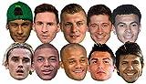 Star Cutouts Ltd SMP371 World Super Party 10 Máscaras Pack incluye Ronaldo, Aguero, Messi, Kroos, Lewandowski, Mbappe, Griezmann Amazing Talking...