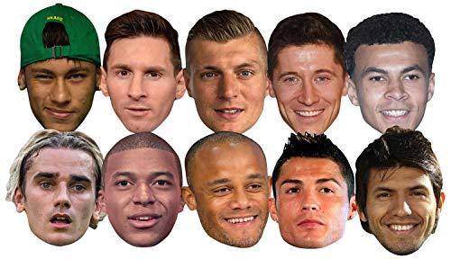 Star Cutouts Ltd SMP371 World Super Party 10 Mscaras Pack incluye Ronaldo, Aguero, Messi, Kroos, Lewandowski, Mbappe, Griezmann Amazing Talking Point para aficionados al torneo de ftbol, multicolor