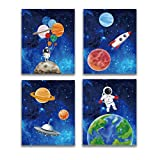 Starry Outer Space Art Print-Galaxy Planets Astronauts Space Themed Canvas...