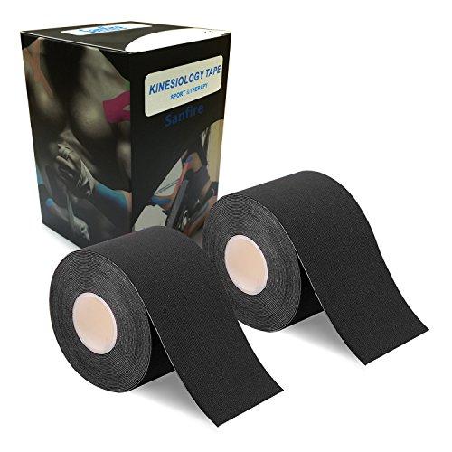 2巻入 テーピングテープ キネシオ テープ 筋肉・関節をサポート 伸縮性強い 汗に強い パフォーマンスを高める 5cm x 5m (黒)