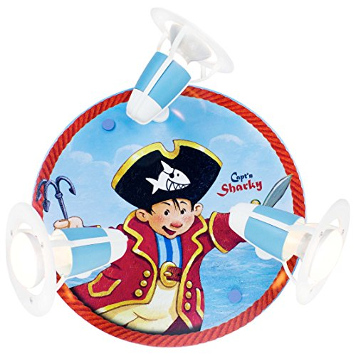 Elobra Kinderzimmerlampe Capt'n Sharky sticht in See, Wand-und Deckenleuchte, Holz blau, 130841