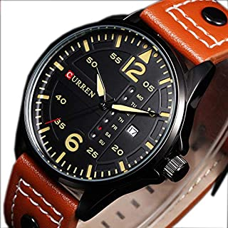 Curren Casual Man Watches With Leather Strap And Black Color Case Curren-8224