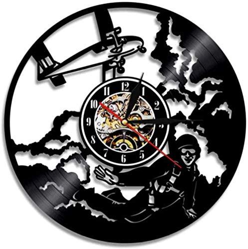 zgfeng Paracaidismo Disco de Vinilo Deportes Reloj de Pared decoración del hogar Retro Paracaidismo Regalos artesanías Hechas a Mano-Sin LED