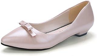 [ジョイジョイ] 大きいサイズ パンプス レディース 靴 リボン 可愛い 白 黒 ピンク カジュアル ローヒール 柔らかい 歩きやすい ポインテッドトゥ 美脚 安定感 立ち仕事 通勤 母の日 ギフト 婦人靴