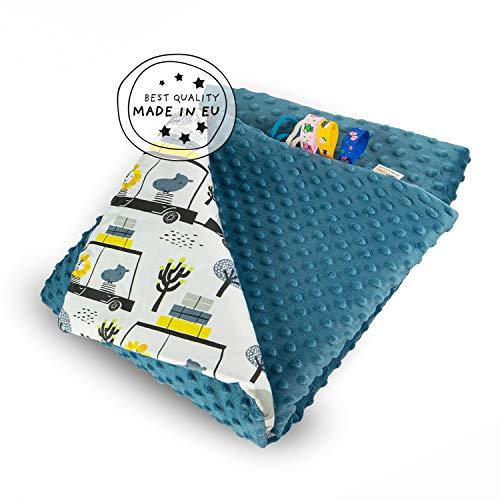 MUNIMU Babydecke Minky - 75x100cm - antiallergisch - OEKO-TEX Standard 100 - Made in EU - Weiche Kuschel- und Spieldecke in lustigen Motiven - doppelseitig verwendbar