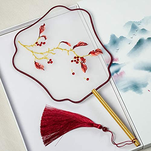 Estilo antiguo chino bordado grupo ventilador acabado retro literario Hanfu Cheongsam pasarela Silk Dance su…