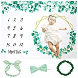 Baby Monthly Milestone Blanket Girl Boy   Green Leaf Eucalyptus Months Baby Age Blanket  Includes Bunny Headband Bow Tie & Leaf Wreath Photo Props   Unisex Growth Chart for Newborn