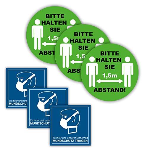 10er Set Aufkleber Rund Grün Bitte halten Sie Abstand Aufkleber 1,5m Abstand halten Sicherheitsabstand und Mundschuzt Aufkleber im Zuge des Corona Virus COVID 19 Rund