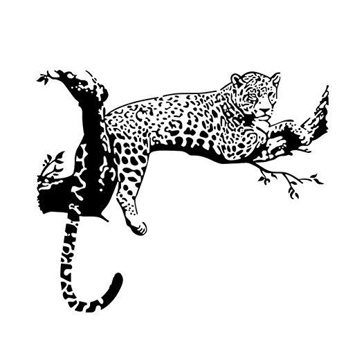 WandSticker4U®- Wandtattoo LEOPARD Schwarz I Wandbild: 86x72 cm I Wand Deko Safari Tiere Afrika Savanne Baum Zweig Aufkleber I Wandsticker für Wohnzimmer Jugendzimmer Küche Flur GROß